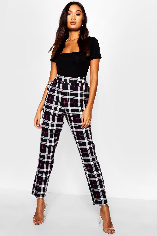 a1d76c1f9162 Boohoo. Women's Black Woven Tartan Check Slim Fit Trousers