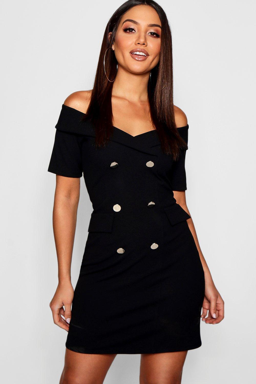 c69ad4c2e7c2 Boohoo Off The Shoulder Blazer Dress in Black - Lyst