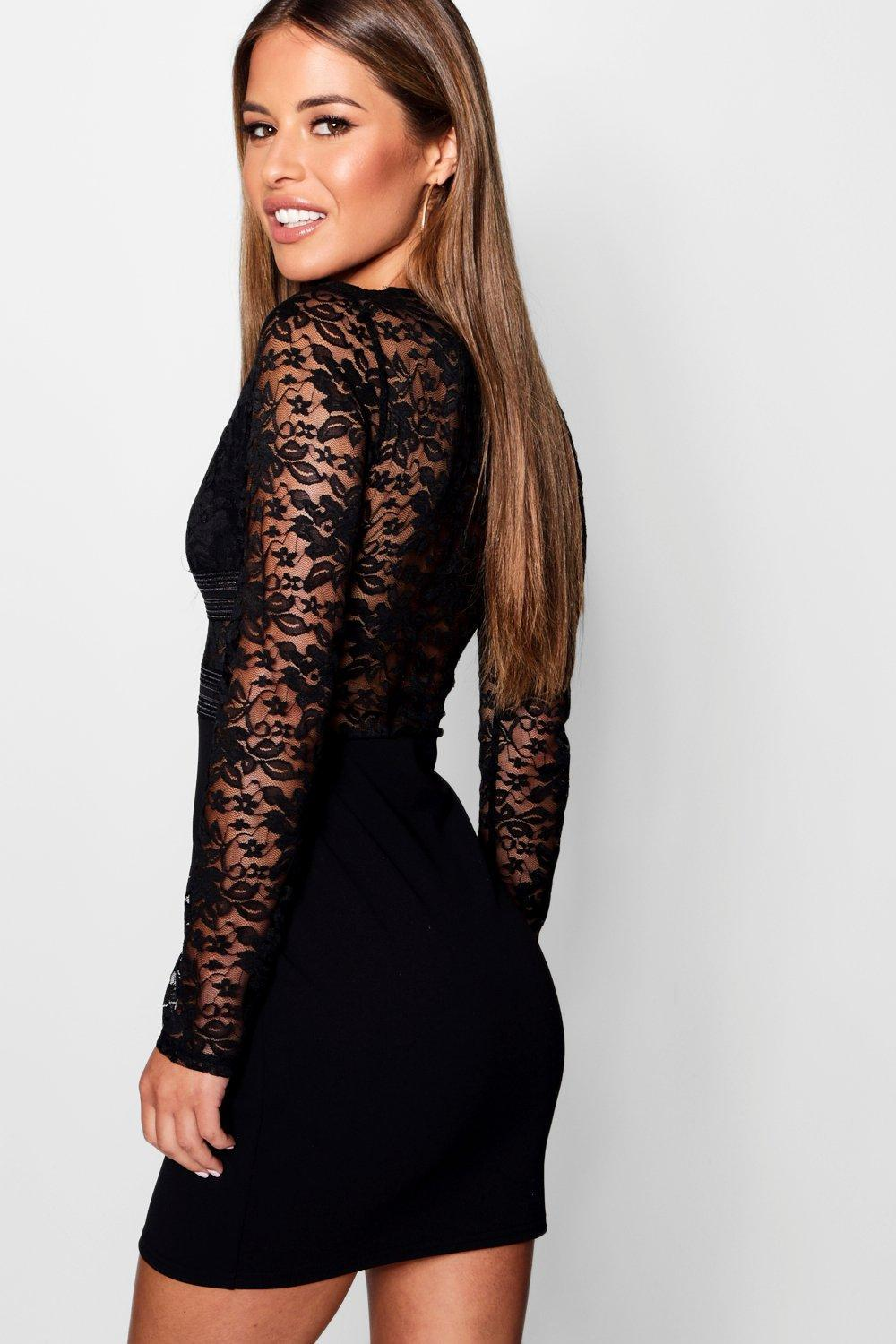 d8c30671c9 Boohoo - Black Petite Darcy Lace Trim Detail Bodycon Dress - Lyst. View  fullscreen