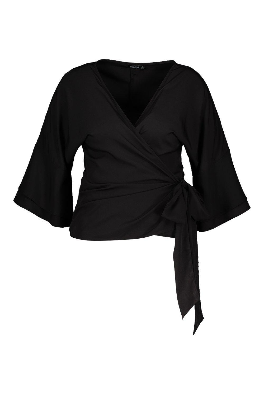 774735aad0de5 Boohoo - Black Plus Tiered Sleeve Tie Waist Wrap Blouse - Lyst. View  fullscreen