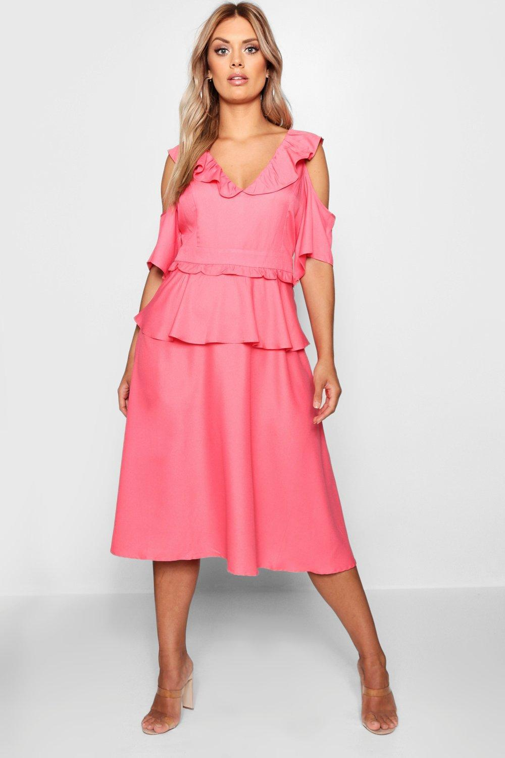 6735b835f4b1 Boohoo Plus Double Frill Cold Shoulder Midi Dress in Pink - Lyst