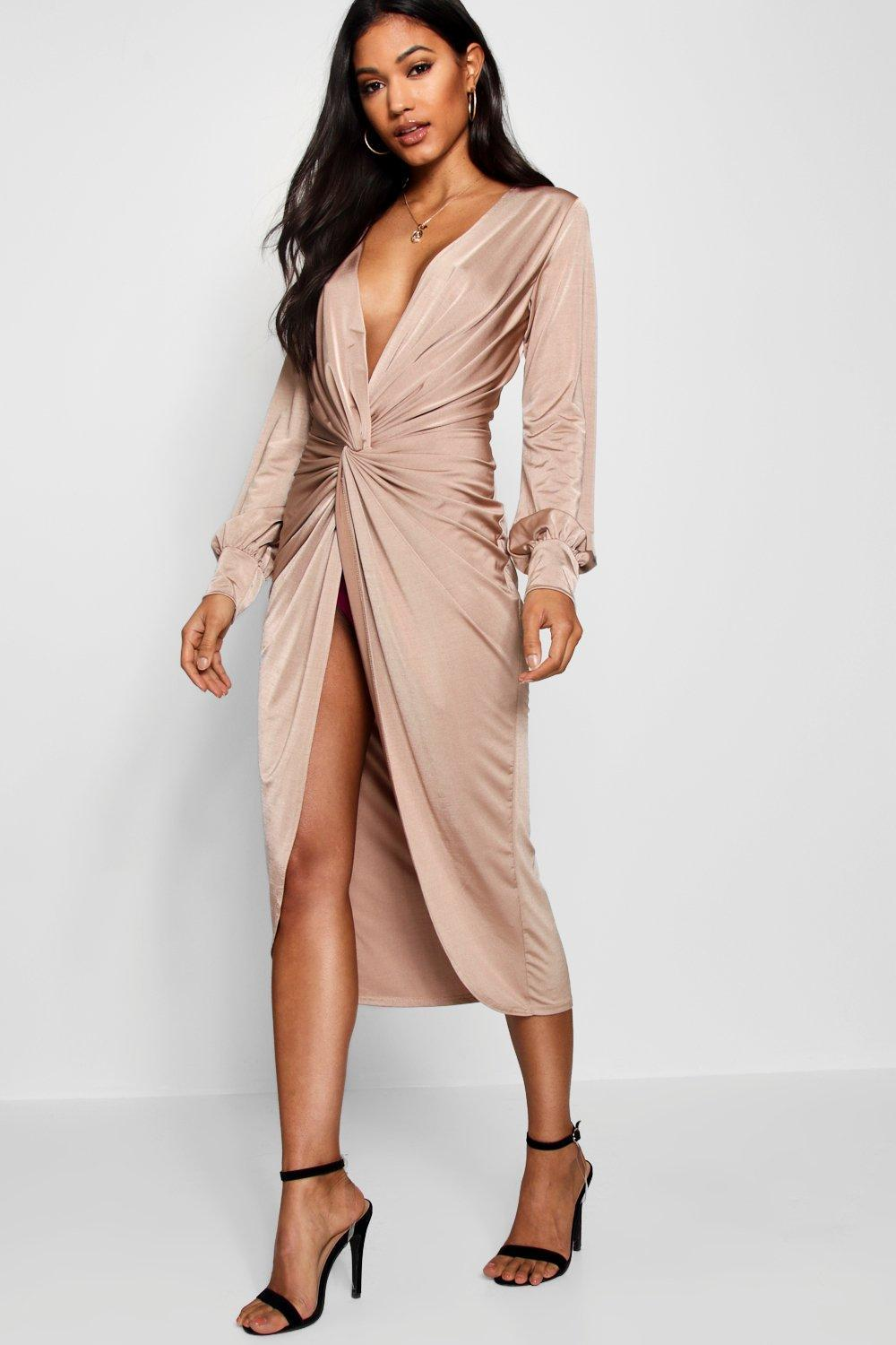 620f2393d9deb Boohoo. Women's Twist Front Plunge Slinky Midi Dress