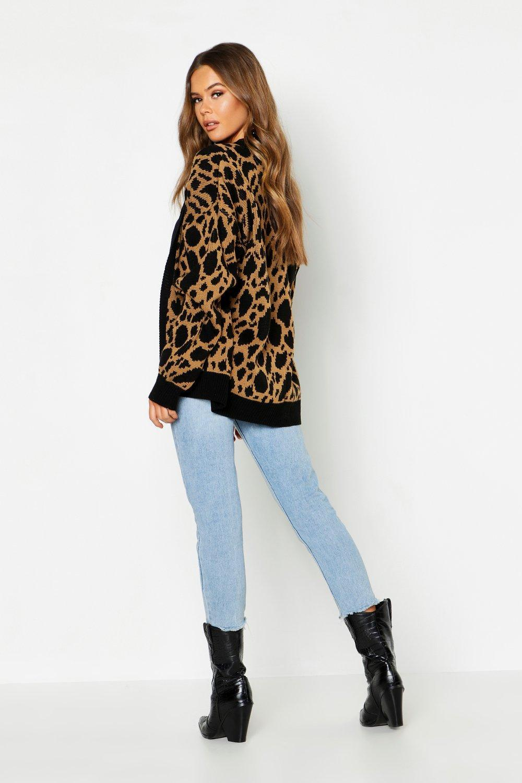 63028303f Lyst - Boohoo Leopard Print Longline Cardigan in Metallic