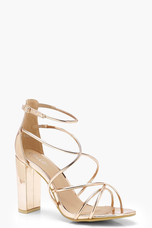 b0bc1adbecde Lyst - Boohoo Strappy Block Heel Sandals