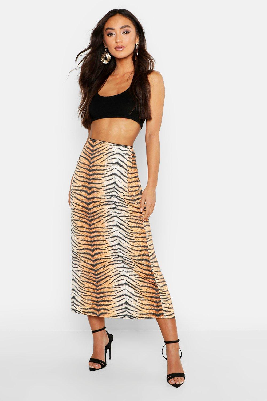 5ea173455 Boohoo Petite Tiger Print Slinky Midi Skirt in Orange - Lyst
