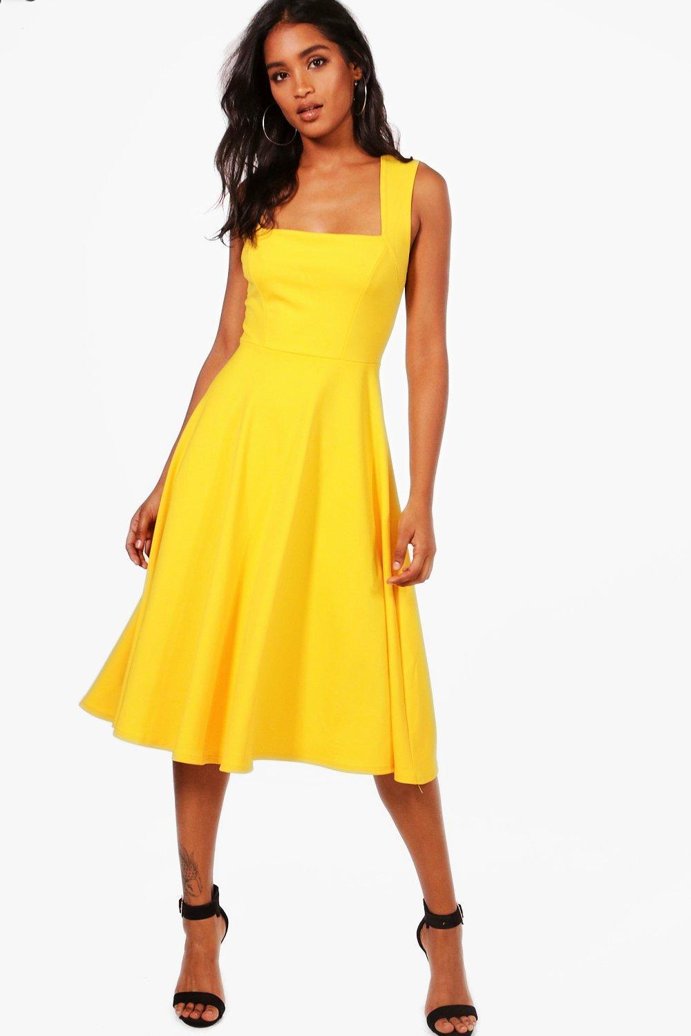 823aeb3b9e5430 Boohoo Square Neck Midi Skater Dress in Yellow - Lyst