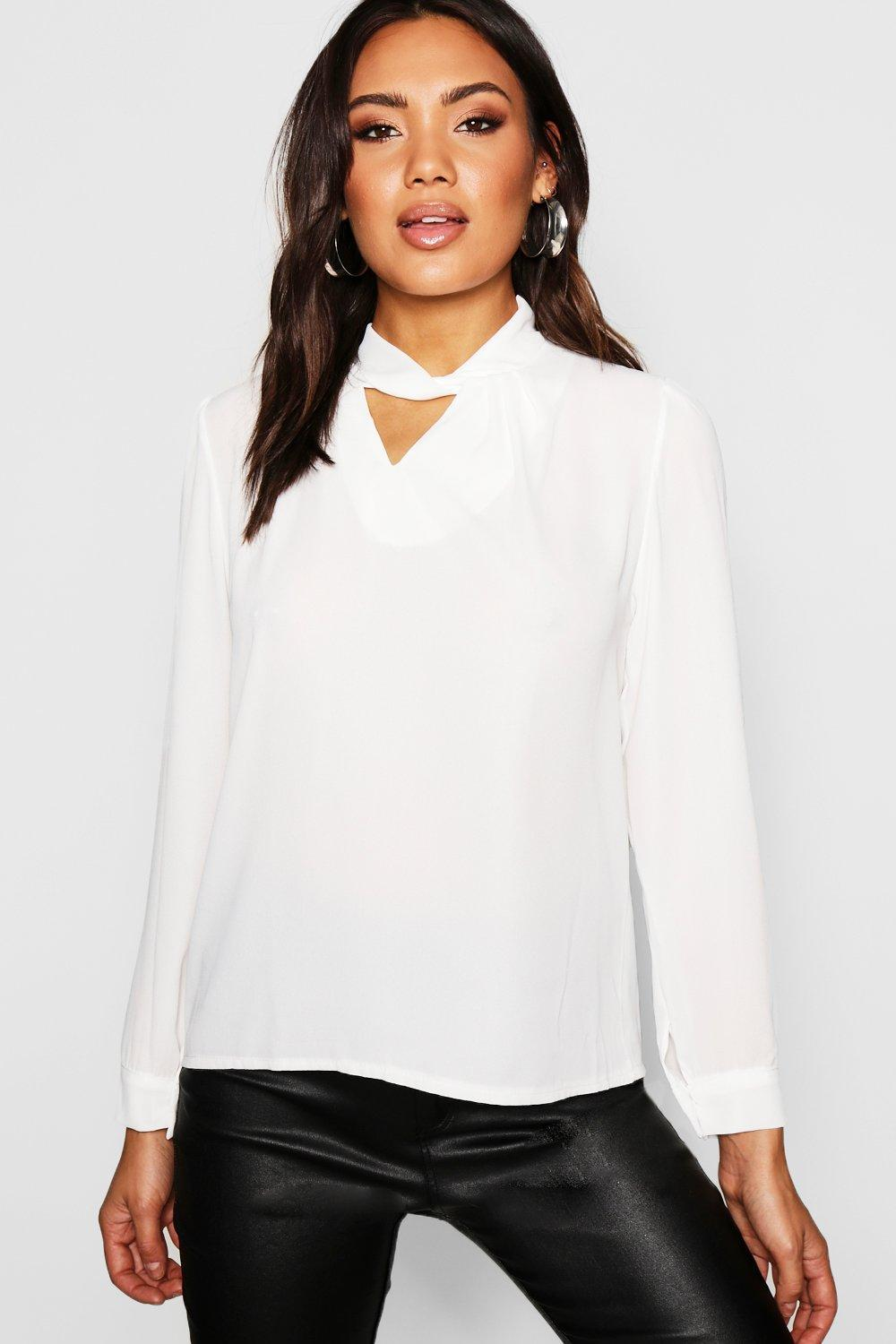 94dc1f0e14f6 Boohoo Woven Twist Neck Detail Blouse in White - Lyst
