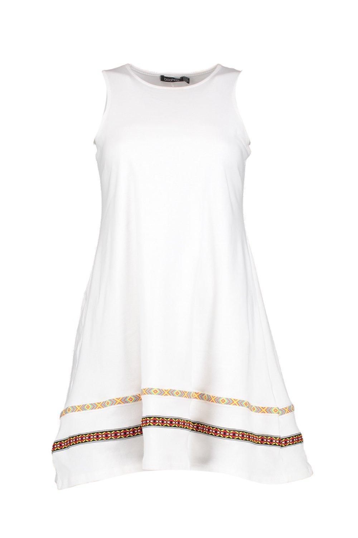 bec34cc3e540 Lyst - Boohoo Luna Tape Trim Festival Swing Dress in White