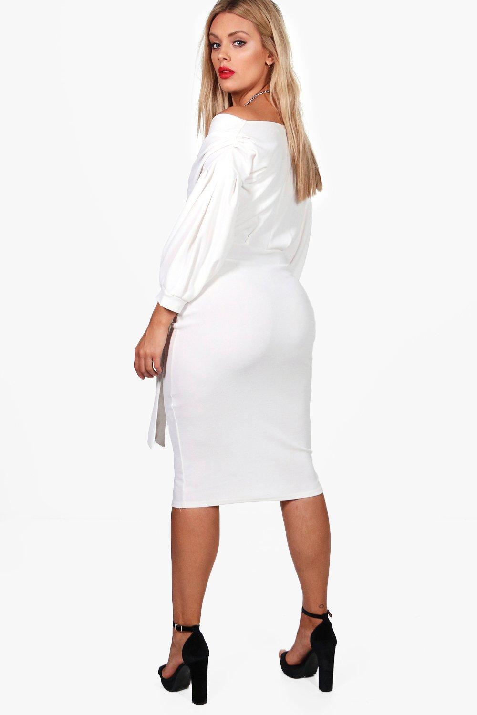 581a76817e83 Boohoo - Black Plus Off The Shoulder Wrap Midi Dress - Lyst. View fullscreen
