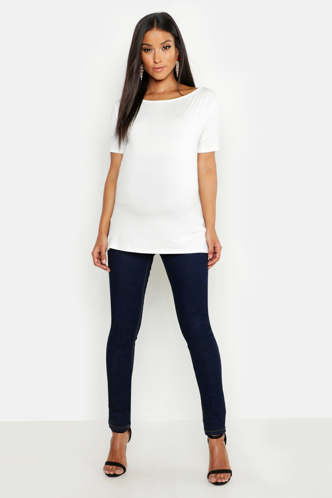 5533976b43b72 Boohoo Maternity Over The Bump Skinny Super Stretch Jean in Blue - Lyst