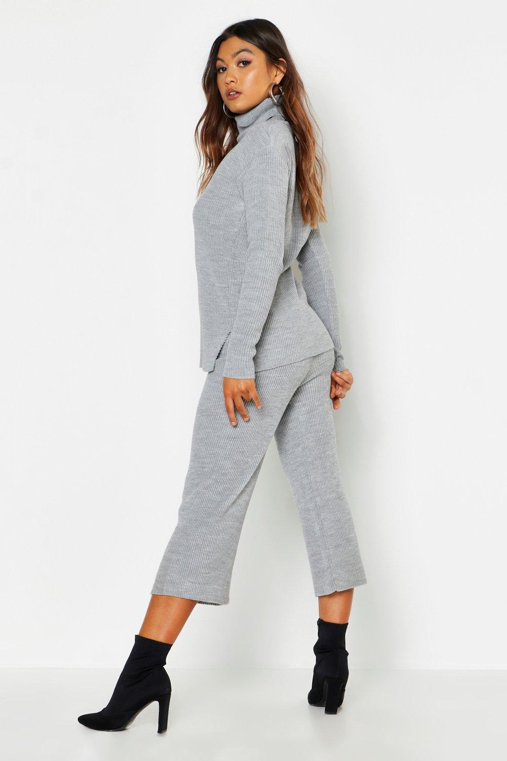 a920c9aabd0651 Boohoo - Multicolor Roll Neck Culotte Knitted Set - Lyst. View fullscreen