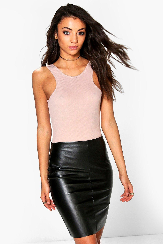 83c2e554e783 Lyst - Boohoo Tall Leather Look Mini Skirt in Black