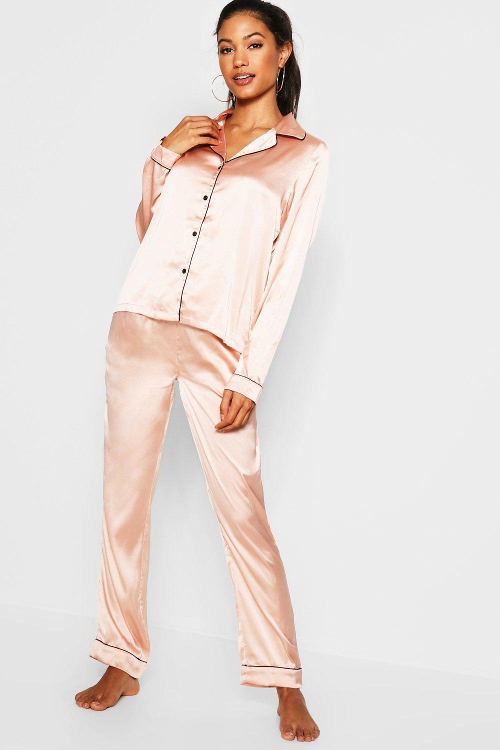 bb86da78ba Boohoo Contrast Piping Button Down Satin Set in Pink - Save 13% - Lyst