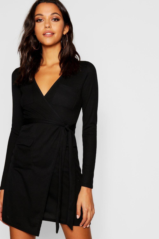 32f21de4e9ad Boohoo Utility Pocket Rib Knit Wrap Dress in Black - Lyst