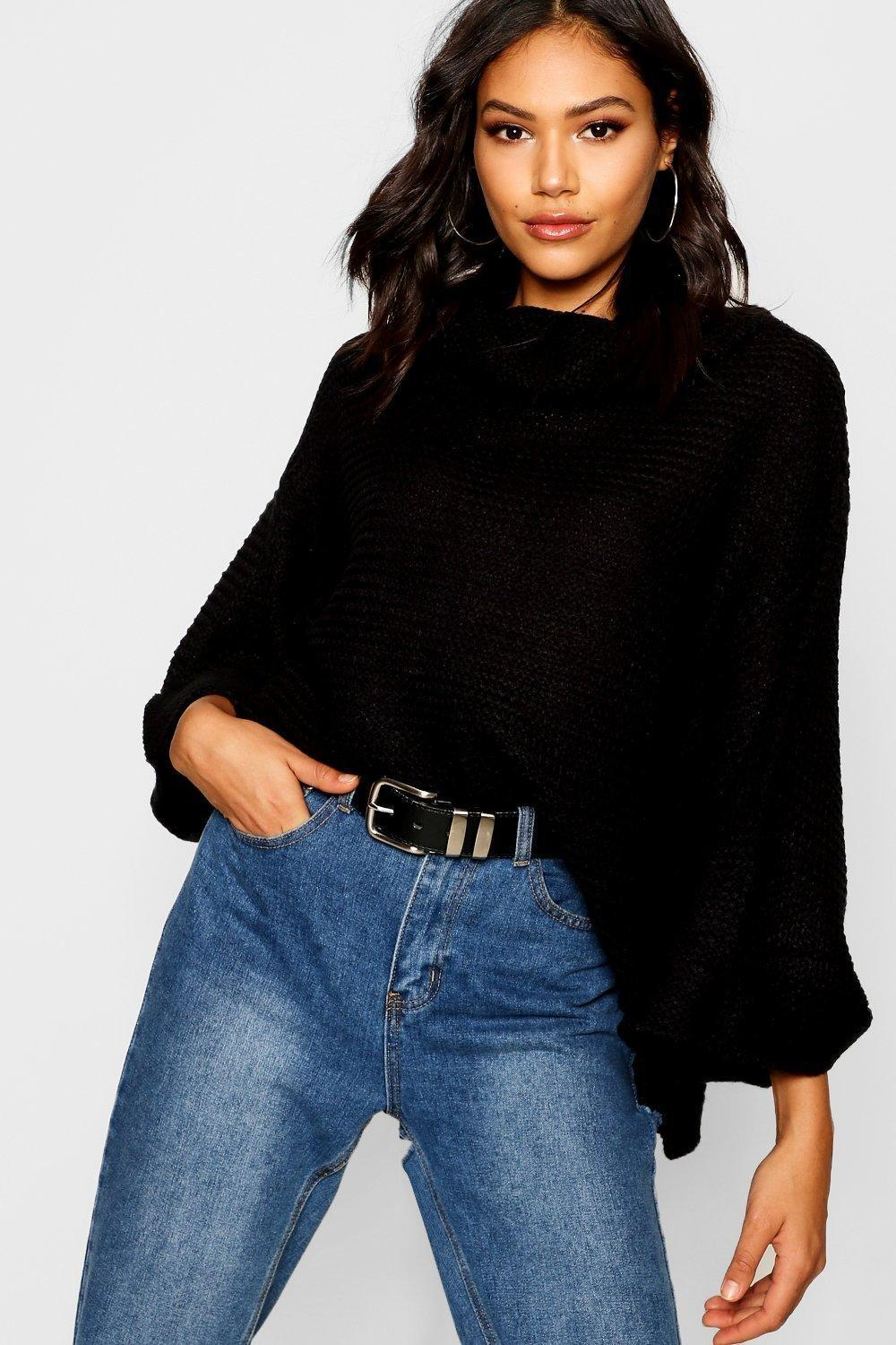 Boohoo Cowl Neck Sweater With Split Side Seam in Black - Lyst 68e24678d