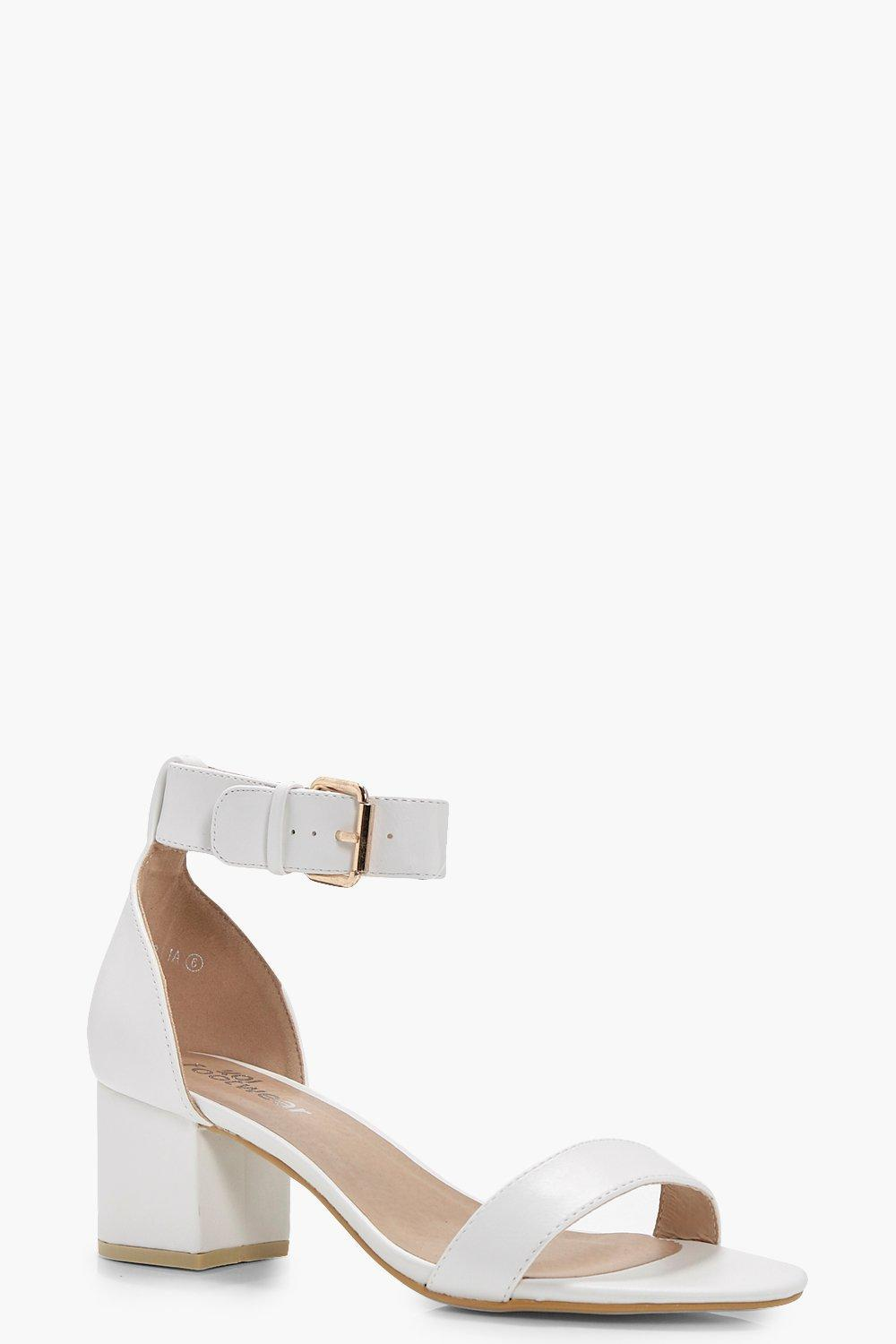 4b770235757 Lyst - Boohoo Erin Ankle Band Low Block Heel 2 Parts in White