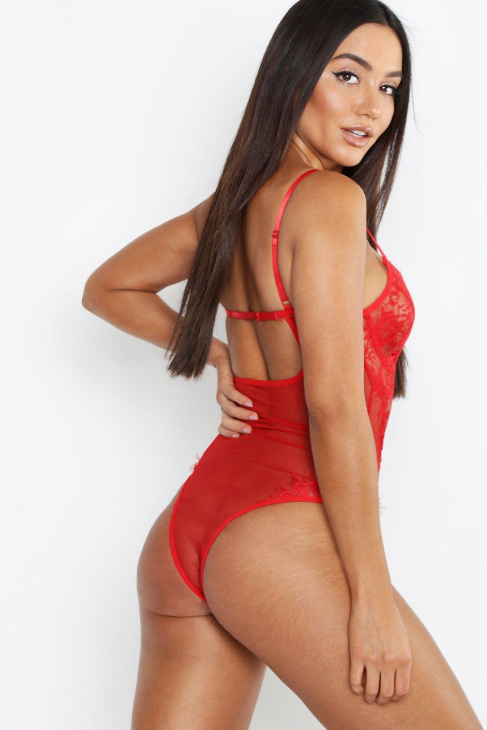 b1ed6c5578 Boohoo Eyelash Lace And Fishnet Body in Red - Lyst