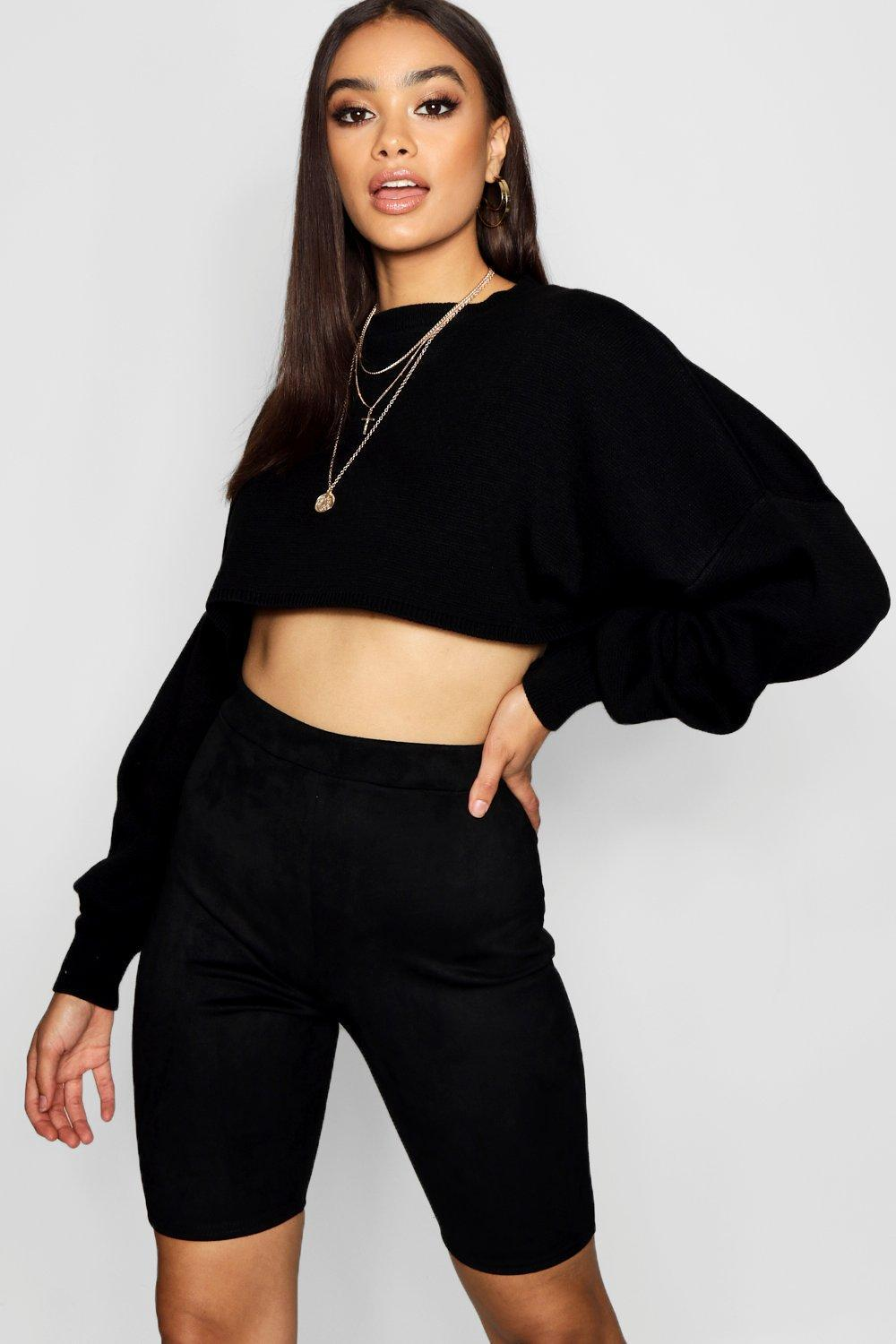1f0acf6504f6 Boohoo Suede Cycling Shorts in Black - Lyst