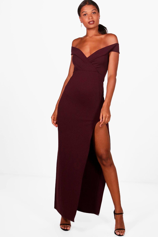 09b0c03139 Boohoo Wrap Top Bardot Maxi Dress in Red - Lyst