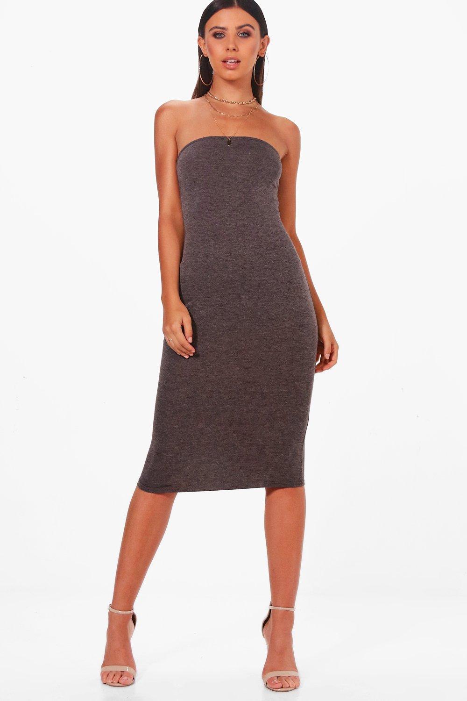 a73037fe58db Boohoo Petite Maya Bandeau Curve Hem Bodycon Dress in Gray - Lyst