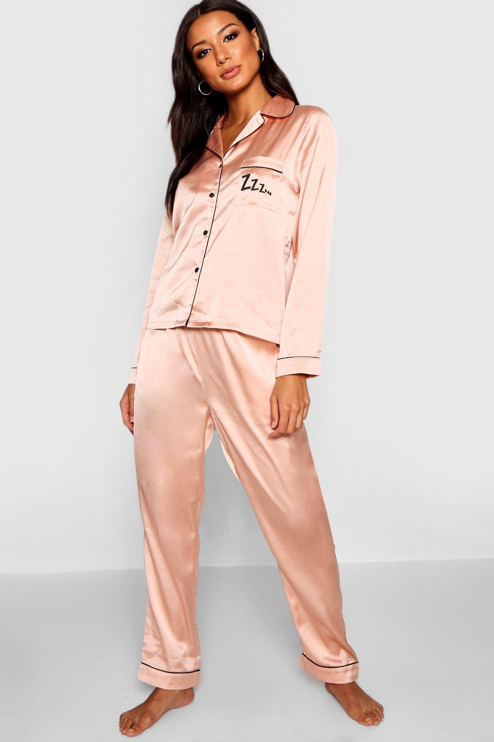 09efd9fcd2 Boohoo Zzz Satin Button Through Short Set in Pink - Lyst
