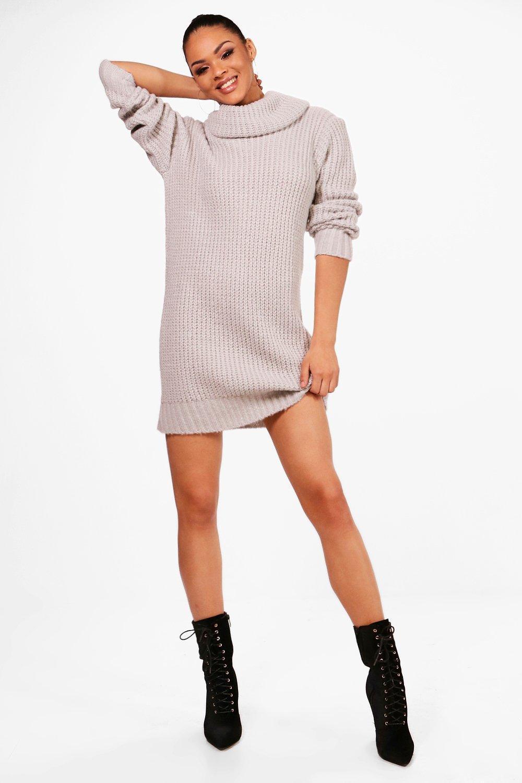 08195f55d62 Boohoo Oversized Soft Knit Cowl Neck Jumper Dress in Metallic - Lyst