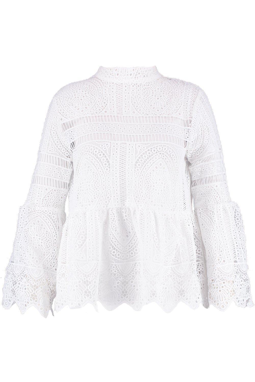 c14b7994fbc Lyst - Boohoo Plus Bridget Crochet Lace Top in White