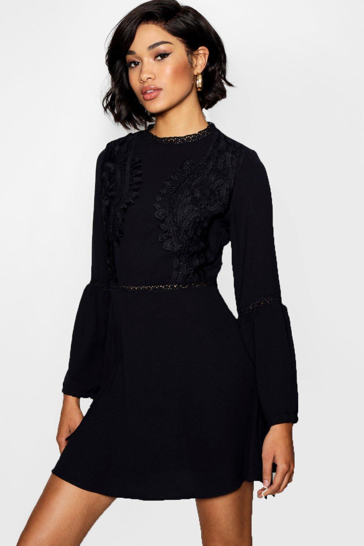 Boohoo Lace Insert Bohemian Skater Dress in Black - Lyst 7a7da5345