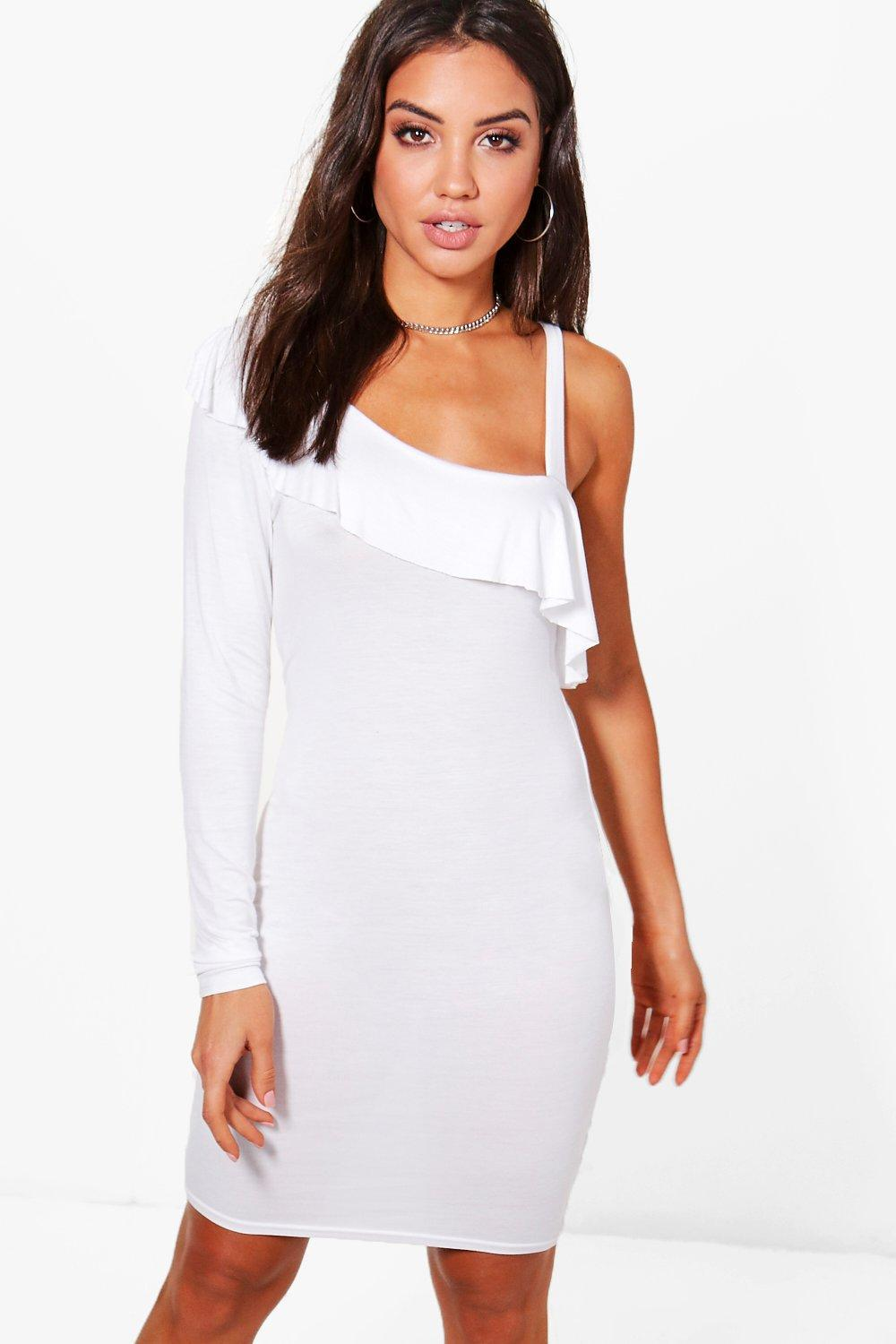 d26b65ca49a4 Boohoo Amy One Shoulder Frill Swing Dress in White - Lyst