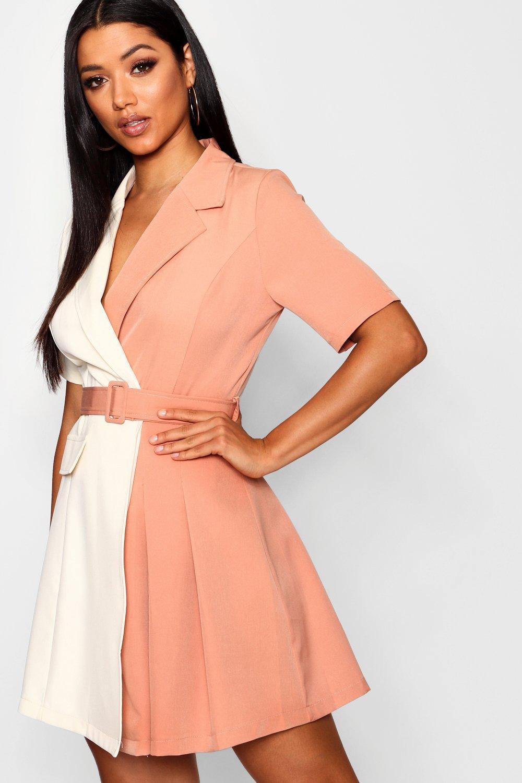 18acd59805 Lyst - Boohoo Contrast Belted Woven Blazer Dress