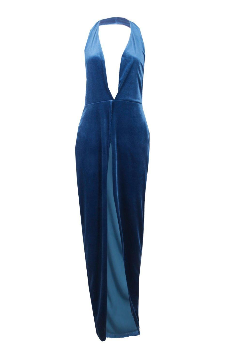 Lyst - Boohoo Alia Velvet Plunge Side Split Maxi Dress in Blue fc2c3cb35