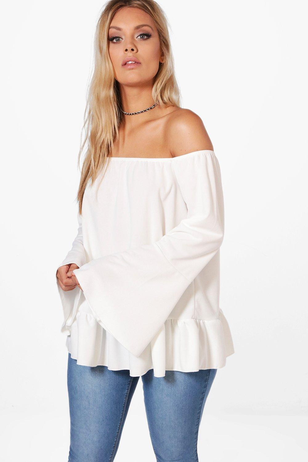 563b8a8e8314a6 Lyst - Boohoo Plus Sophia Off The Shoulder Flare Sleeve Top in White