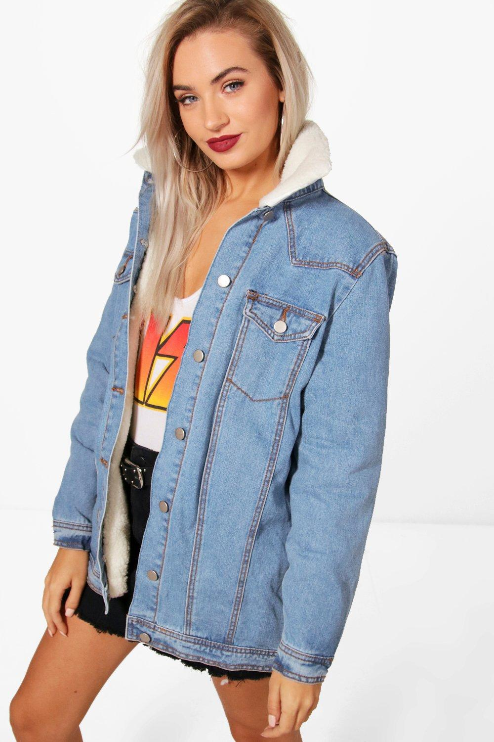 be22ce7a5c3 Boohoo Long Lined Borg Collar Denim Jacket in Blue - Lyst