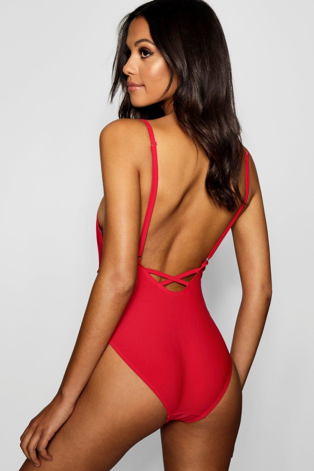d33522581d01 Boohoo - Red Tall Melody Scoop Back Strappy Swimsuit - Lyst. View fullscreen