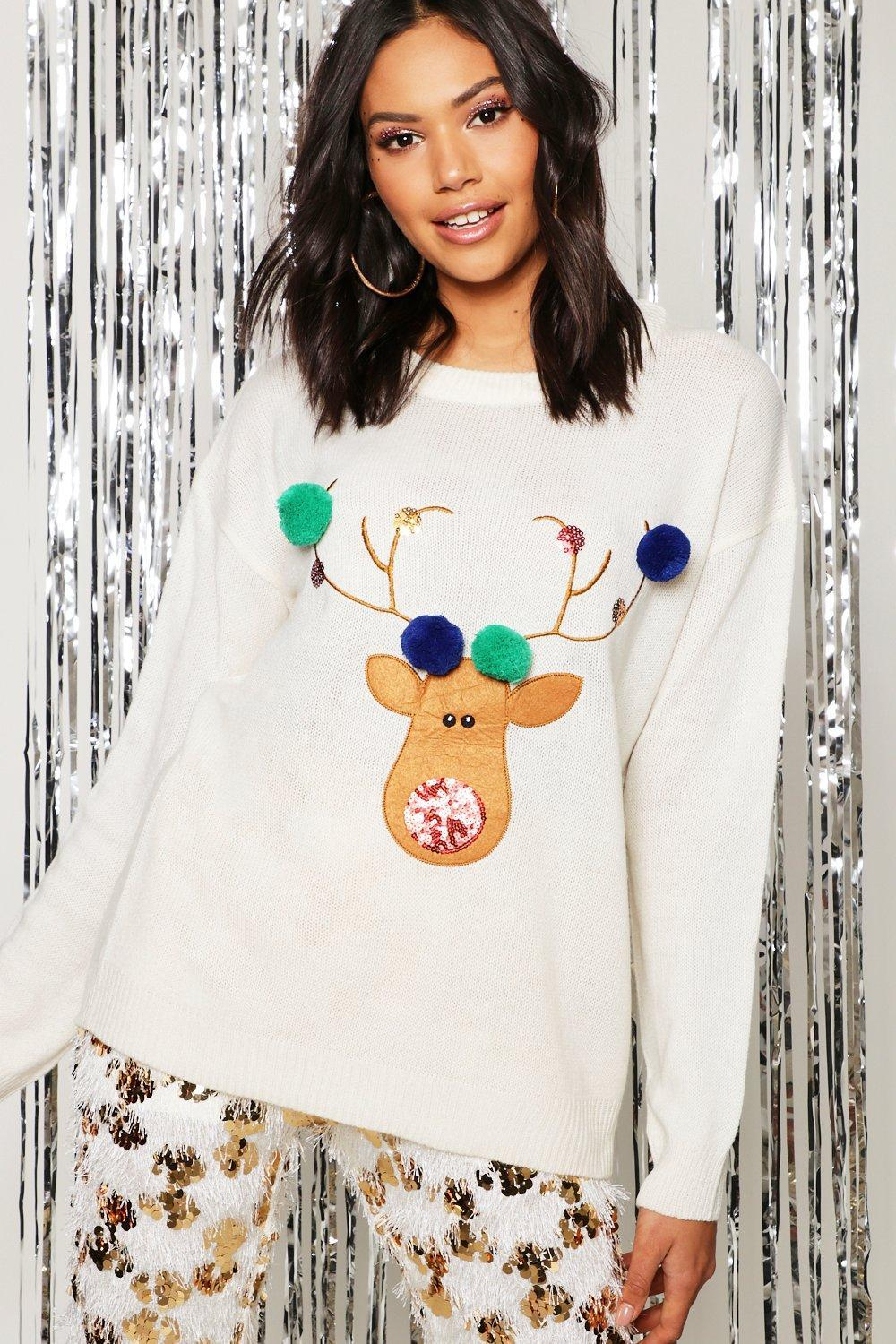 6dbd2f483566f Lyst - Boohoo Reindeer Applique Jumper With Pom Pom in Blue