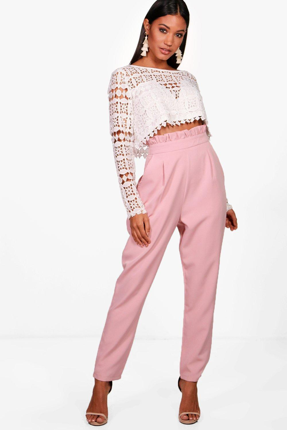 Boohoo Premium Lace Crop   Trouser Co-ord Set in Pink - Lyst 47baed6c3