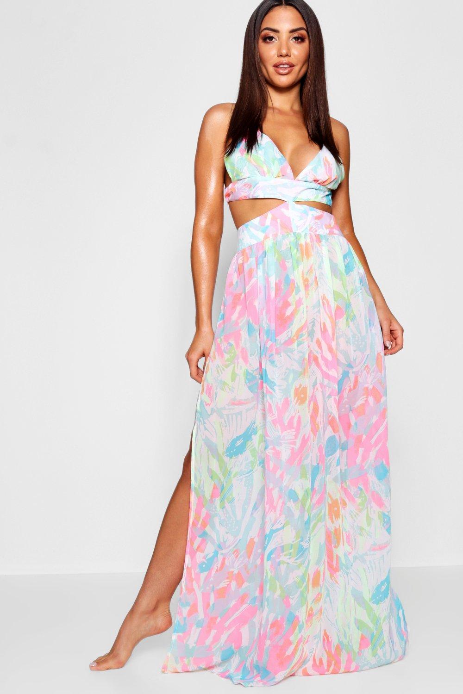 10c67f72c4 Boohoo Neon Tropix Cut Out Maxi Beach Dress - Lyst