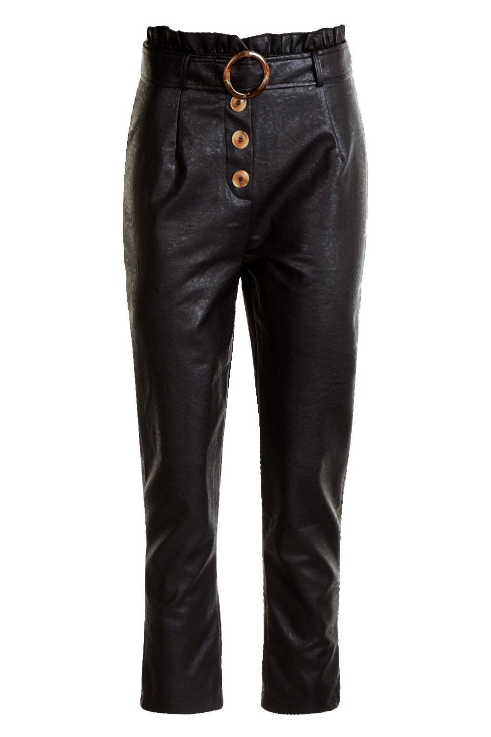 1dc7cccb8d50 Tap to visit site. Boohoo - Black Leather Look Mock Horn Button Paperbag  Belt Leather Pants - Lyst