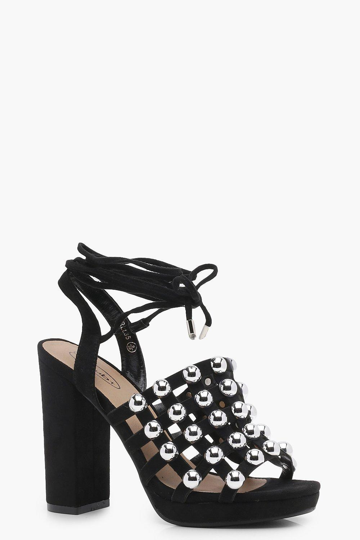 3ffc4bef6bb Lyst - Boohoo Caged Studded Wrap Heels in Black