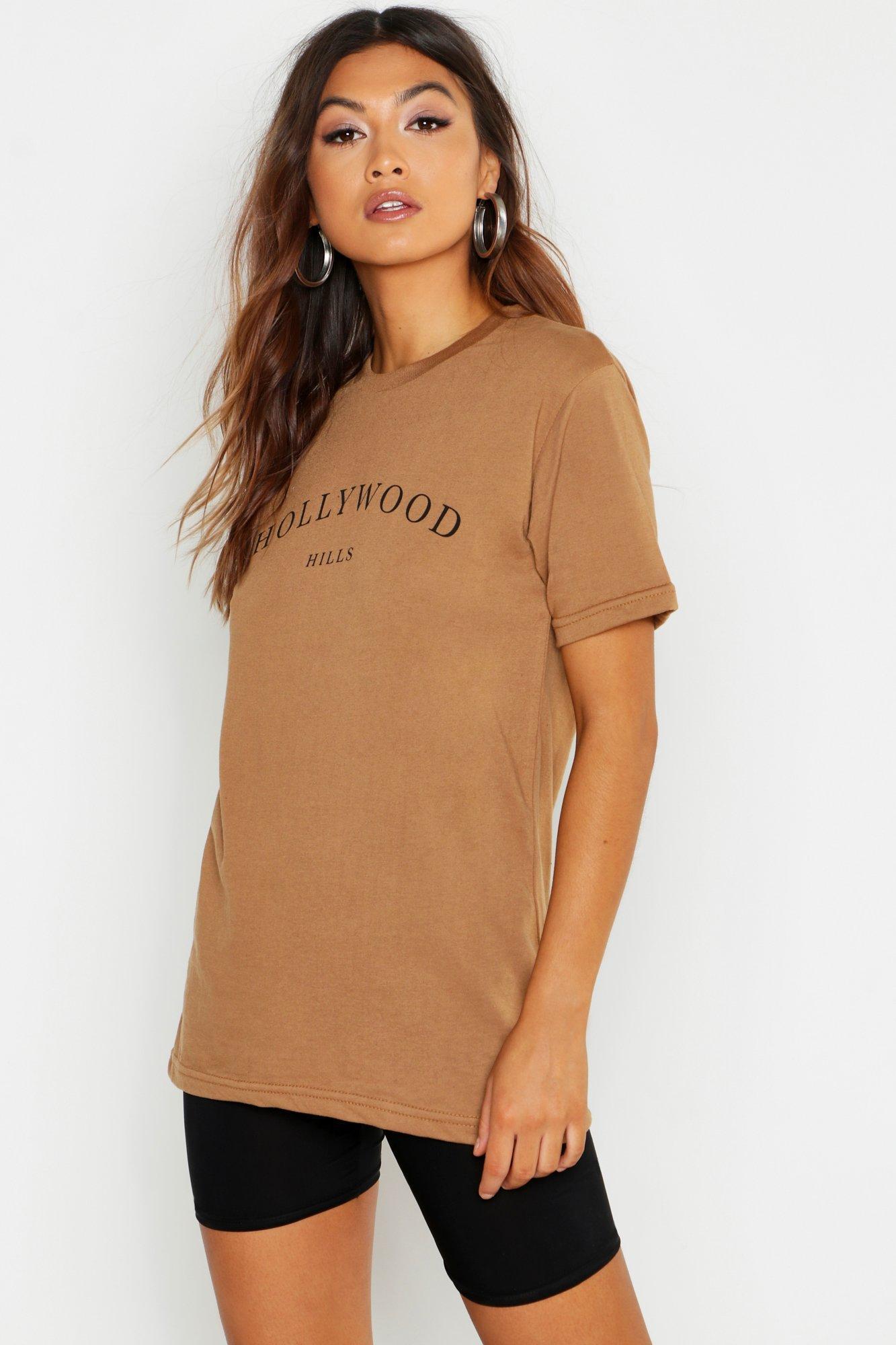 9e5514469f32f Boohoo. Women's Hollywood Slogan Printed T-shirt