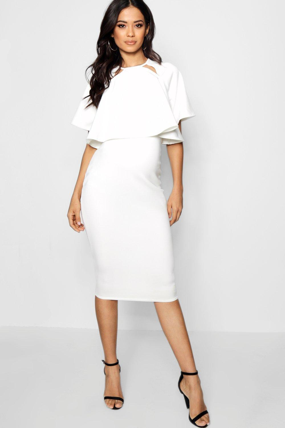 22928e334709 Boohoo - White Maternity Double Layer Wiggle Dress - Lyst. View fullscreen