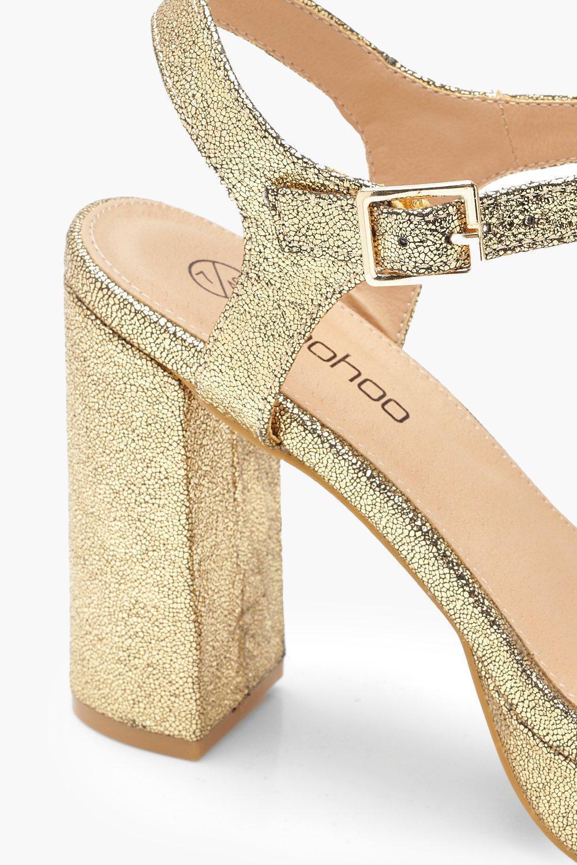 b2c06f2a20f4 Boohoo Extra Wide Fit Metallic Platform Heels in Metallic - Save 25 ...