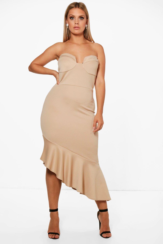 Boohoo Plus Bandeau Peplum Hem Midi Dress Best Wholesale For Sale Deals Cheap Online Cheap Sale Recommend yyWz4zDG