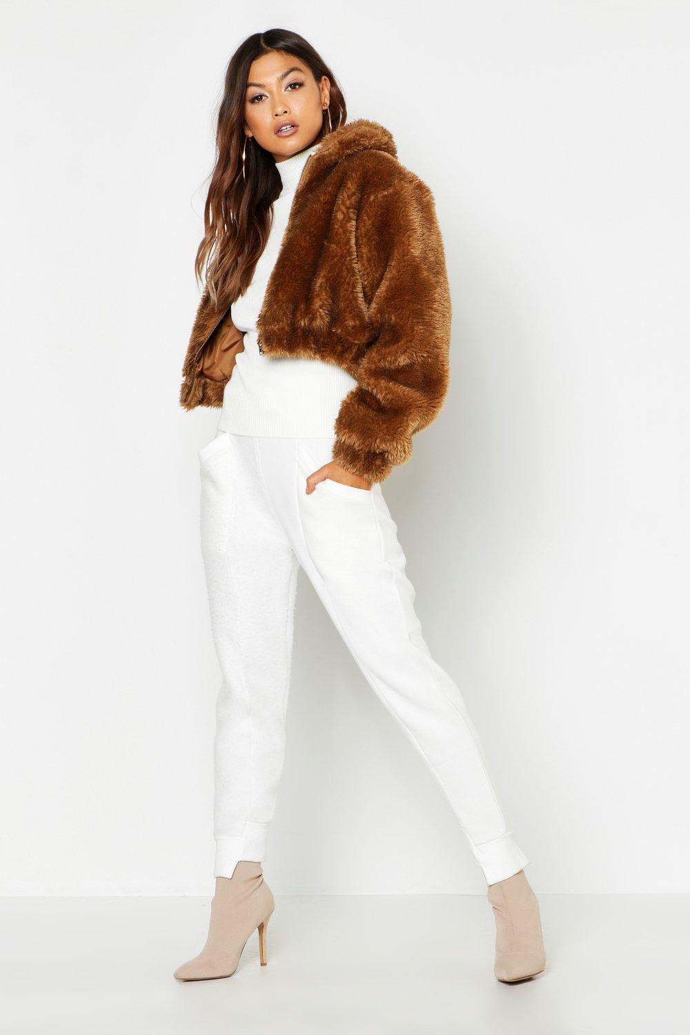 99ec04f0a68aa Boohoo - Multicolor Cropped Shaggy Faux Fur Bomber Jacket - Lyst. View  fullscreen