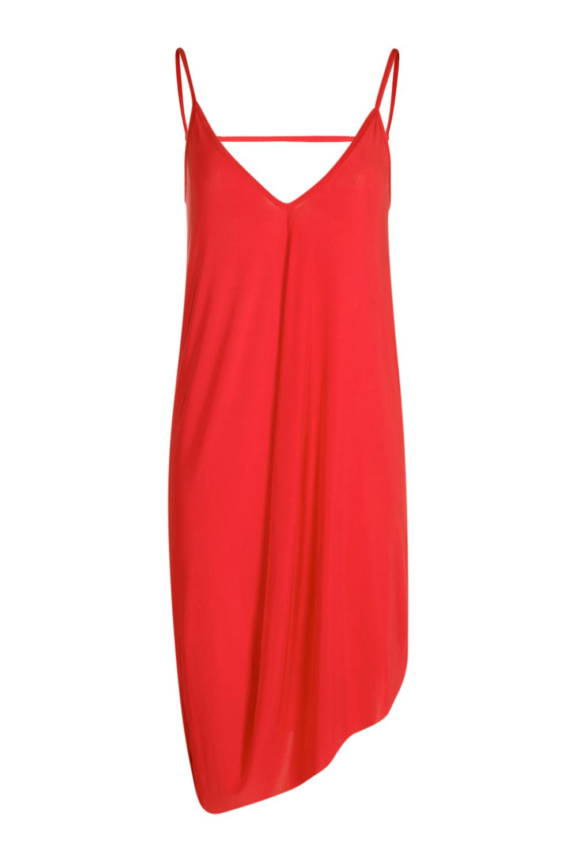 249f4b21b5c9 Lyst - Boohoo Aideen Asymmetric Slinky Slip Dress in Black
