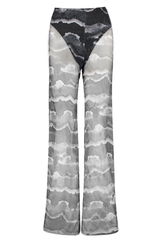 60f9cf2bbf4e Boohoo - Gray Tie Dye Mesh Pant Lined Loose Leg Pants - Lyst. View  fullscreen