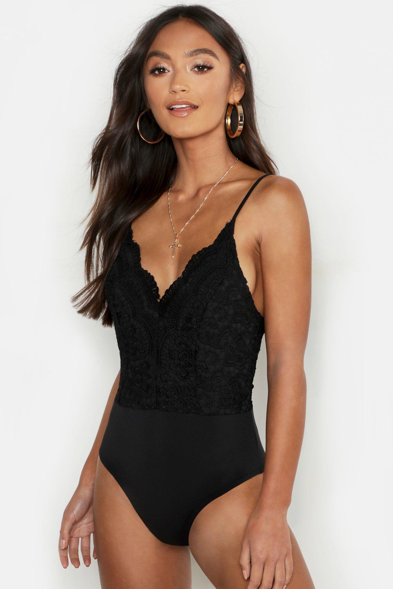 78c0ce55038 Lyst - Boohoo Petite Premium Lace Bodysuit in Black