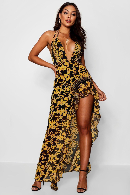 214d3d6124 Boohoo Baroque Print Ruffle Maxi Dress in Black - Lyst