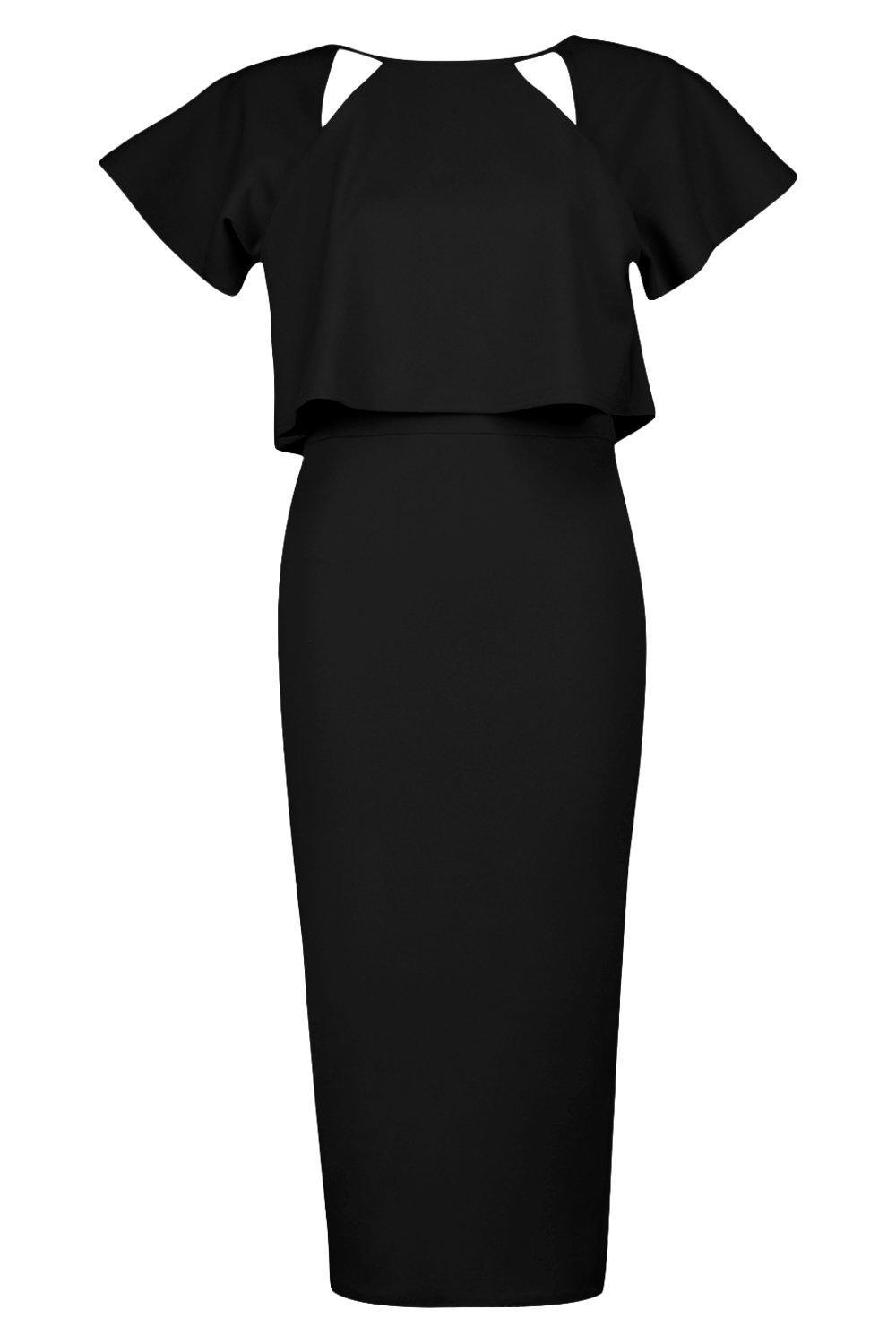 dbeaaad11f6d Boohoo Naomi Formal Frill Double Layer Midi Dress in Black - Lyst