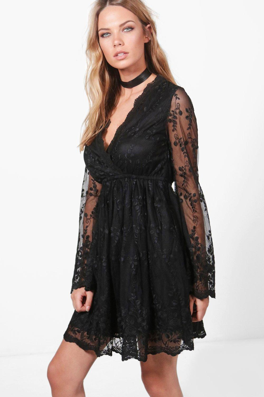 1005d5fe67 Lyst - Boohoo Lia Lace Wrap Front Shoulder Dress in Black